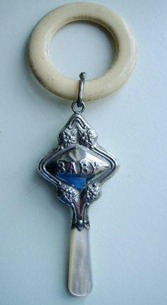 vintage rattle teething ring