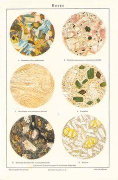 Vintage Rocks Under a Microscope  Lithograph Print to Frame. $16.00, via Etsy.