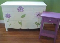 This would look cute in Hayden's room. Antique Dresser and nightstand repainted with a new look. that would go good in my little girls purple rooom! Painted Dressers, Hand Painted Furniture, Funky Furniture, Furniture Ideas, Kids Rooms, Kids Bedroom, Bedroom Ideas, Project Ideas, Diy Projects