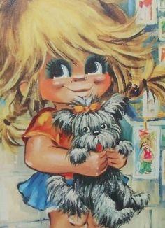 Vintage Print Lithograph Retro Big Eye Girl 50s Shih Tzu shitzu Dog Terrier | eBay