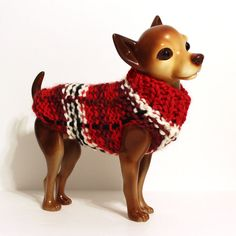 Plaid Dog Sweater Red Black & White Knit Dog Sweater, Dog Sweaters, Tartan Plaid, Handicraft, Puppy Love, Chihuahua, Hand Knitting, Black And White, Red Black