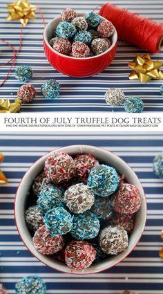 No-Bake Red White and Blue Dog Treats! {RECIPE} Festive Coloured Coconut Banana Truffle Dog Treats