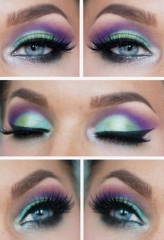 Flowerchild eye make-up in green & purple Pretty Makeup, Love Makeup, Makeup Inspo, Makeup Art, Makeup Inspiration, Beauty Makeup, Hair Makeup, Purple Makeup, Green Makeup