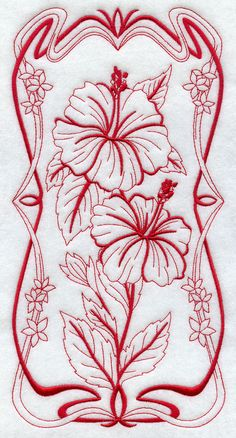 Art Nouveau Hibiscus (Redwork)  A beautiful Art Nouveau flower panel in redwork. Wonderful for tea towels, shirts, tote bags, quilts, and wall hangings!