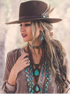 Boho Jewelry J. Forks Hats These hats feature a J. forks turquoise band w/feather. Forks Hats These hats feature a J. forks turquoise band w/feather. Cowgirl Chic, Cowgirl Mode, Estilo Cowgirl, Estilo Hippie, Cowgirl Hats, Cowgirl Outfits, Outfits With Hats, Gypsy Cowgirl Style, Cowgirl Tuff