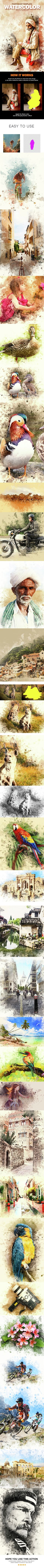 Watercolor Photoshop Action - Photoshop Add-ons