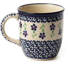 12 Oz Coffee Mug, Blue Scroll ($15) ❤ liked on Polyvore featuring home, kitchen & dining, drinkware, fillers, food, mugs, other, blue coffee mugs, blue mug and blue drinkware