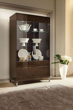 Evolution Modern 2Door Display Cabinet In Ivorywalnut Effect Awesome Modern Dining Room Display Cabinets Design Ideas
