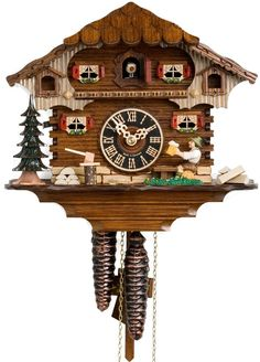 """Hones 9"""" 1 Day Chalet 164 Cuckoo Clock – Sit back and relax! Put your wood chopper down and have a beer on a log with the other German villagers. Enjoy taking in the skilled craftsmanship of the little hearts that adorn the red shutters. Next to you is the patch of vegetation and on the far side is a Black Forest tree where the man recently put up his axe on the log. It is a great day in the village that you deserve to be a part of! Offered by Designed in Time"""
