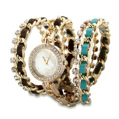 Turquoise & Brown Woven Gold Chain Link CZ Wrap Watch