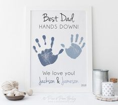 gift for dad Handprint Gift for Dad from Kids Father's Day, Birthday, Best Father Hands Down Art, Personalized ,Your Child's Hands or UNFRAMED Diy Father's Day Crafts, Father's Day Diy, Crafts For Kids, Birthday Crafts, Dad Birthday, Diy Birthday Gifts For Dad, Homemade Fathers Day Gifts, Diy Father's Day Gifts From Wife, Birthday Card For Grandpa