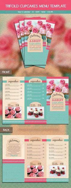 Trifold Cupcakes Menu Template to market your cake business Food Menu Template, Restaurant Menu Template, Menu Restaurant, Restaurant Identity, Baking Business, Cake Business, Business Cards, Web Design, Food Design