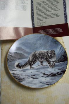 Vintage W.S. George Plate Fleeting Encounter by wildlife artist Charles Frace  Snow Leopard by UpcycledCottageDecor on Etsy