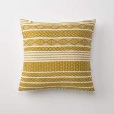 BACK IN STOCK   Handwoven Mayan Throw Pillow - Mustard   Throw Pillows   Bed + Bath
