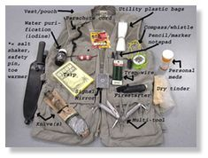 EMERGENCY MEDICINE  Basic Survival Kits VEST   * This is a GREAT idea! especially if you have a basecamp to leave your big stuff... or a backpack is too heavy for you!