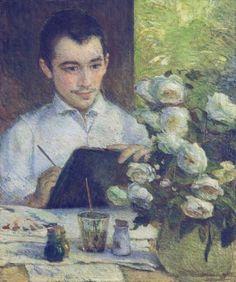 Pierre Bracquemond schilderen van een boeket bloemen