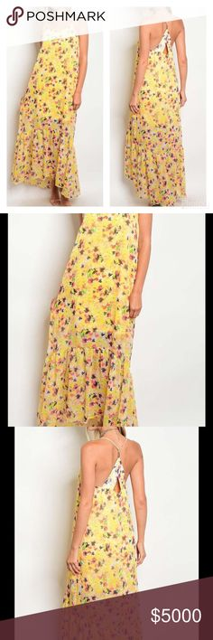 """🆕SUMMER YELLOW PRINT CHIFFON MAXI DRESS Yellow Print Chiffon Maxi Dress with Ruffled Hem  Gorgeous Floral Print on Sunny Yellow   Lovely Chiffon Material  Show off your Shoulders with a Partially Open Back with Keyhole Detail  Flirty Ruffled Hem & Lined  Summer Must Have!  Available in Sizes S, M, L  Polyester   S: 32"""" B, 57"""" L, 34"""" W M: 34"""" B, 58"""" L 36"""" W L: 36"""" B, 59"""" L, 38"""" W  🚫NO TRADES NOT A LIQUIDATION SALE ITEM Peach Couture Dresses Maxi"""