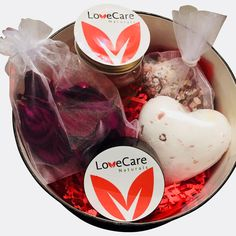 LoveCare Naturals is a bath and body company that prides itself on all products being handcrafted with Love, Care, and Natural Ingredients. Bath Salts, Rose Petals, Lip Balm, Self Love, Peppermint, Bath And Body, Gifts For Her, Massage, Bathtub