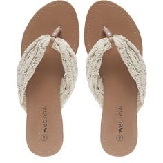 Crochet Strap Flip Flops ($13) ❤ liked on Polyvore featuring shoes, sandals, flip flops, flats, sapatos, natural, wide thong sandals, thong sandals, t-strap flats and strappy flats
