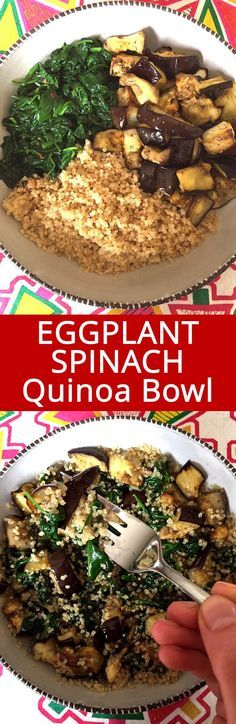 I love this simple vegan quinoa buddha bowl recipe! Eggplant, spinach and quinoa go so well together, this is so filling and flavorful! Best healthy plant-based meal ever!