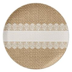 Burlap with Delicate Lace - Shabby Chic Style Dinner Plates