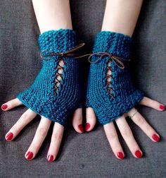 Fingerless Gloves Corset Wrist Warmers Handknit in by LaimaShop, $33.00