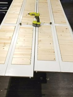 Shiplap inspired closet door makeover goes from drab to fab! DIY Closet Budget Shiplap - diy-home-decor Folding Closet Doors, Bedroom Closet Doors, Entryway Closet, Front Closet, Master Bedroom, Louvered Bifold Doors, Closet Door Makeover, Decoration Ikea, D House
