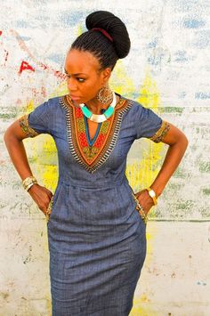 African Print On Denim Dresses - AfroCosmopolitan African Dresses For Women, African Print Dresses, African Attire, African Wear, African Women, African Prints, African Style, African Outfits, African Inspired Fashion