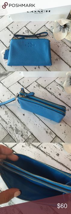 NWT COACH Wristlet Brand new with tags authentic Coach Wristlet. Stunning summer blue pebbled leather with silver hardware. Double zipper compartments with credit card slots and storage space galore! Wristlet leash is detachable so you can use as a wallet or carry as a wristlet. comes in Coach gift Box! Coach Bags Clutches & Wristlets