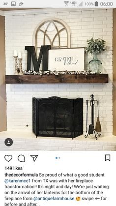 Trendy Farmhouse Style Mantle Decor Family Rooms You are in the right place about country farmhouse decor ladder Here we offer you the most beautiful pictures about the cou Rustic Fireplaces, Farmhouse Fireplace, Home Fireplace, Brick Fireplace Decor, Decor For Fireplace Mantle, Chimney Decor, Stone Fireplaces, Small Fireplace, Mantel Shelf