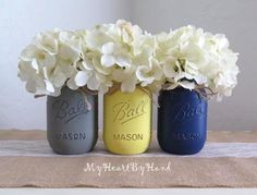 Grey Yellow and Navy Blue Distressed Mason Jars by MyHeartByHand