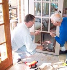 Installing a doggie door in a French door