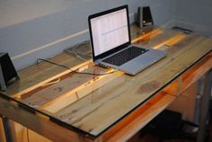 Tavis - DIY Pallet desk, great for teenage boys room! WIth glass top, add wood legs from Home Depot, or metal legs from Ikea.