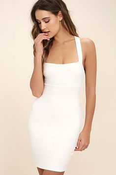 Catalina Classic White Bodycon Midi Dress | Packs, Stretch... and ...