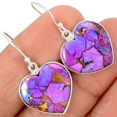 Heart Copper Purple Turquoise 925 Sterling Silver Earrings Jewelry SE78239   eBay