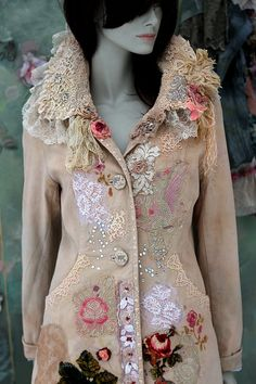 Josephine coat -ornate, wearable art coat, baroque influenced, bohemian romantic ,altered couture, embroidered details,old laces
