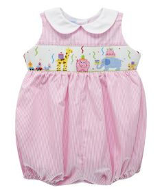 Pink Birthday Party Smocked Bubble Romper - Infant