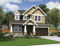 ePlans Craftsman House Plan – Narrow Lot Craftsman With Wide Appeal – 2577 Square Feet and 4 Bedrooms from ePlans – House Plan Code HWEPL76508 Would use different siding and shake colors