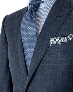 Ermenegildo Zegna | Navy Windowpane Suit | Apparel | Men's