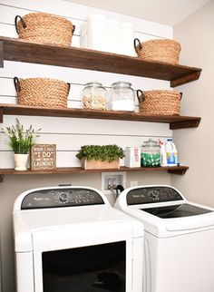 Best 20 Laundry Room Makeovers - Organization and Home Decor Laundry room organization Laundry room decor Small laundry room ideas Farmhouse laundry room Laundry room shelves Laundry closet Kitchen Short People Freezer Shiplap Laundry Room Shelves, Laundry Room Remodel, Small Laundry Rooms, Laundry Room Design, Basement Laundry, Laundry Baskets, Closet Shelves, Laundry Storage, Laundry Closet Makeover