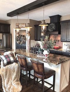 Rustic Kitchen Ideas - Rustic kitchen cabinet is a gorgeous combination of nation home and farmhouse design. Browse 30 ideas of rustic kitchen design here Home Decor Kitchen, Home Kitchens, Buy Kitchen, Farm Kitchen Ideas, Black Kitchen Decor, Kitchen Mats, Kitchen White, Kitchen Trends, Apartment Kitchen