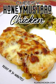Cheesy Honey Mustard Chicken TO DIE FOR! Chicken topped with honey mustard lemon juice paprika lemon pepper bacon Mozzarella and baked. Ready in under 30 minutes. We ate this two nights in a row. Even picky eaters love this! Chicken Tender Recipes, Meat Recipes, Cooking Recipes, Chicken Bacon, Cheesy Baked Chicken, Honey Mustard Chicken Baked, Cola Chicken, Dinner Recipes, Mozzarella Chicken
