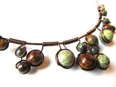 Wire Wrapped Necklace and earrings  green and by CarrieEastwood, $30.00