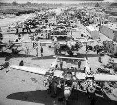"""titanium-rain: """"P-38 Lightning production was sometimes completed on the flight line due to limited production facilities during WW II. Lockheed Martin photo """""""