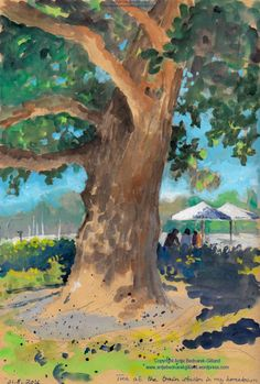 Tree at the train station. Gouache painting by Antje Bednarek-Gilland.