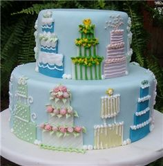 Wedding Shower cake. OR make Christmas trees on the sides for a fun Christmas party cake!