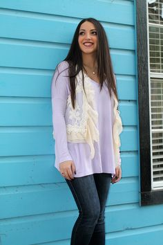 Piko top perfection. http://www.sidelinesass.com/collections/piko-collection/products/v-neck-piko-lavender