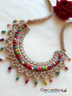 Crochet Stitches Free, Crochet Motif, Crochet Designs, Crochet Flowers, Knit Crochet, Crochet Book Cover, Crochet Books, Fabric Jewelry, Beaded Jewelry
