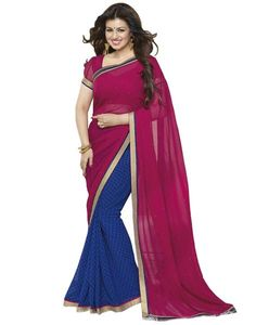 bfa363e84aa76b Laxmipathi 33 - Pink & Blue Georgette Printed Lace Work Saree With Blouse  Piece