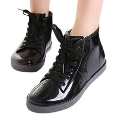 Rain boots and shoes. 2015 Lace-Up Rain Boots Fashion Solid Ladies Flats  Ankle Boots Casual Silver Women ... fb92cae36299